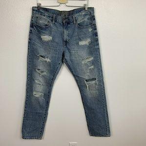 AEO Man Jean Distressed Blue Sz: 34X32